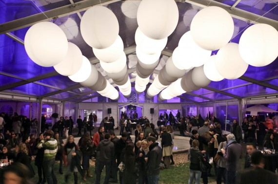 Illuminated balloons creating a festive ambience.