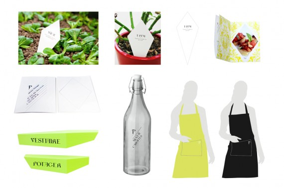 Label, list, namecard, juice bottle, apron, signage design.