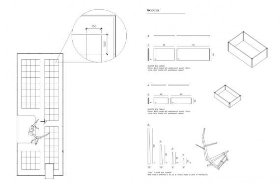 Modular design for planter boxes.