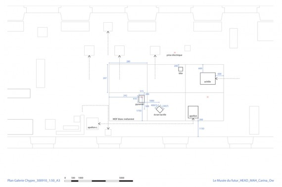 Plan showing the displacements of other works and inclusion of installation.