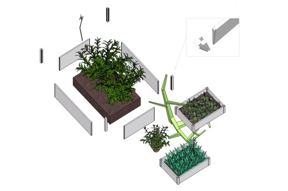 3d representation of planter boxes.
