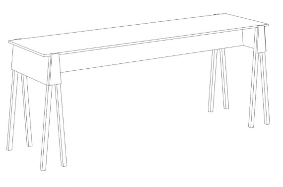 Sketch of a table for the artists stands.