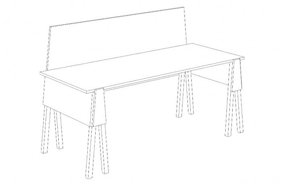 "Sketch of a table design for the ""start-ups"" booth."