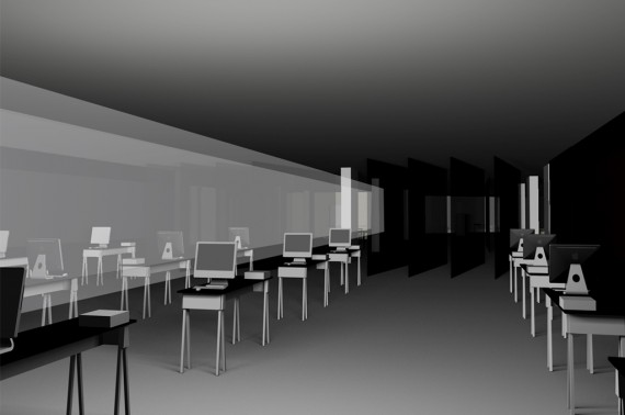 Visualization of the exhibition space with artists stands.