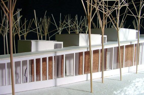 Strip window façade for natural light.